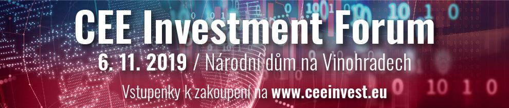 CEE Investment Forum - Banner poutající akci, která se koná v Národním domě na Vinohradech 6. 11. 2019 - v odkazu je možnost zakoupit vstupenku
