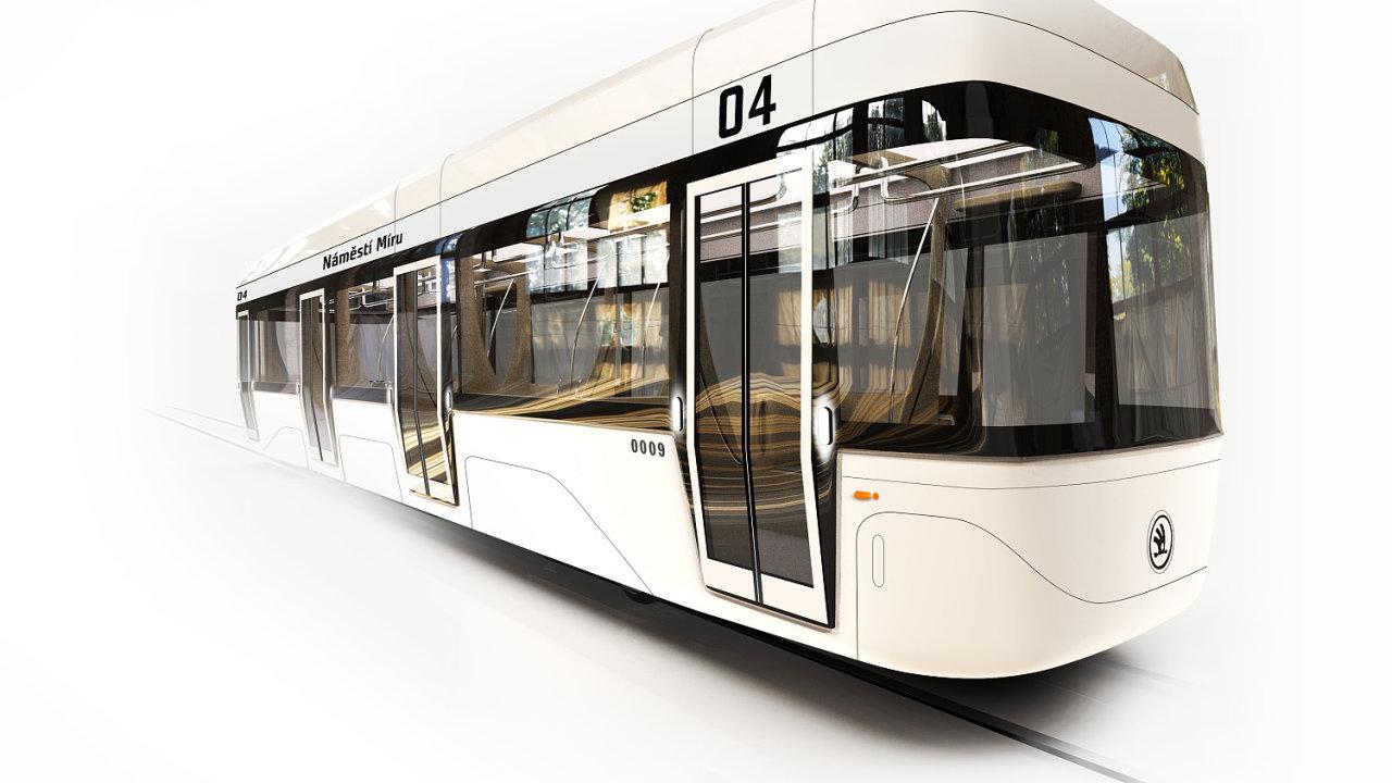 Tramvaj bez řidiče. Návrh vypracovali designéři Kryštof Rozumek a David Muk. Manažerkou interdisciplinárního týmu byla Monika Milatová z Fakulty strojní.
