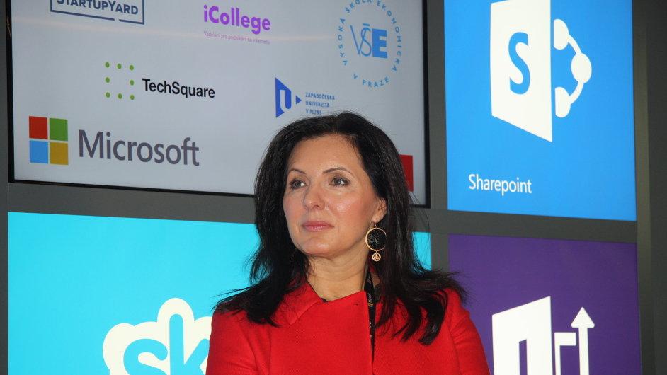 Generální ředitelka českého Microsoftu Biljana Weber na otevření pražského MIC.