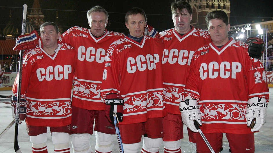 Slavná pětka Krutov, Fetisov, Larionov, Kasatonov a Makarov.