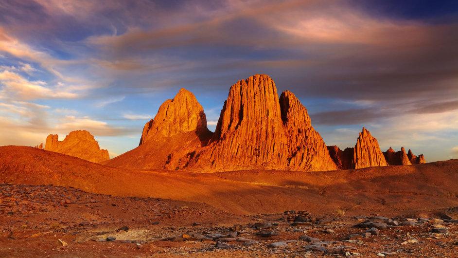 Pohoří Ahagar v alžírské části Sahary