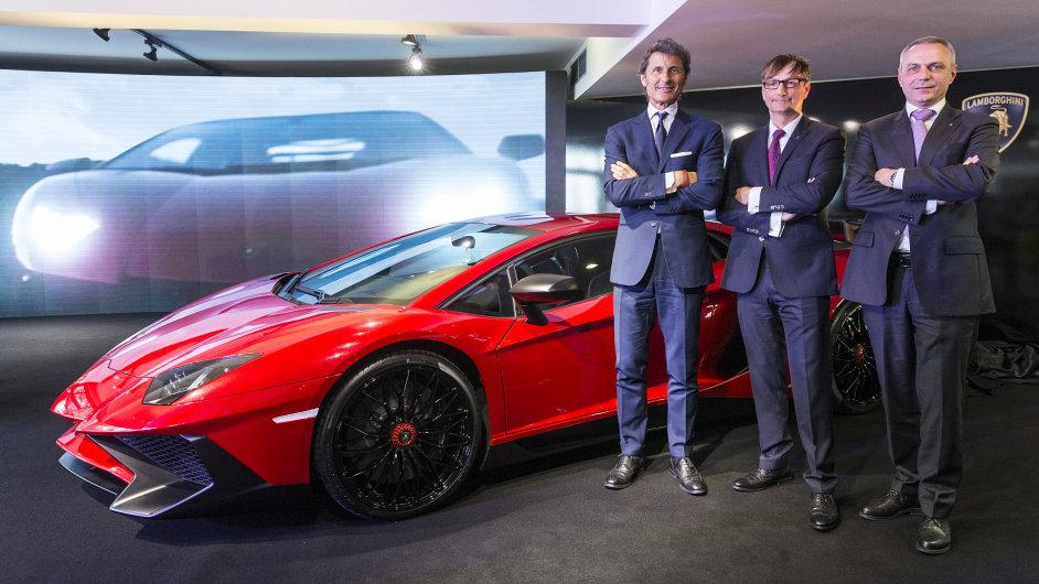 Tým Lamborghini: Stephan Winkelmann (vlevo), Michael Antosch (uprostřed) a Christian Lang