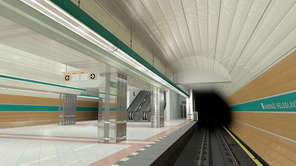 Stanice metra A Nádraží Veleslavín.