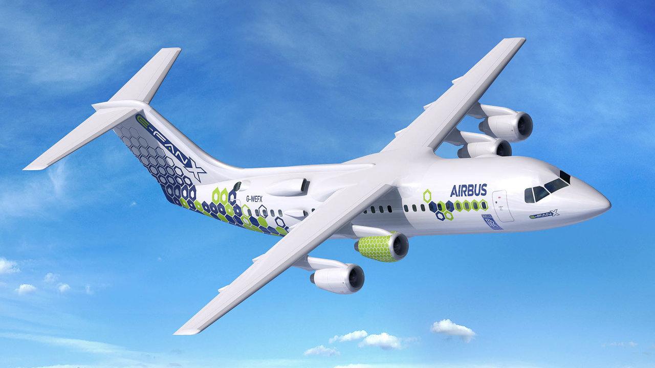 Vzdušný hybrid. Evropský výrobce Airbus pracuje na hybridním stroj. Elektřinou je zatím poháněn jen jeden ze čtyř motorů.