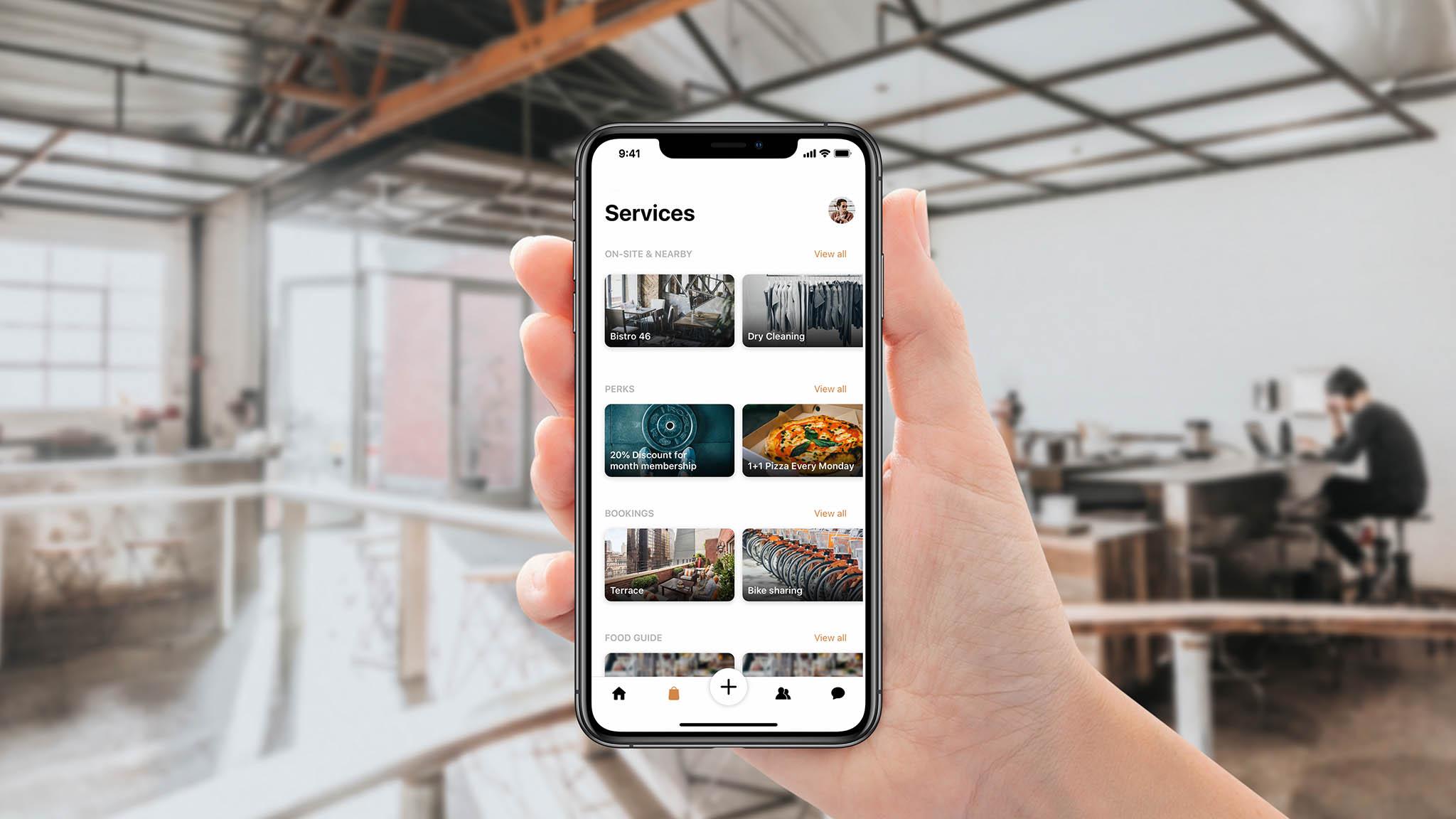 Spaceflow pozvedá komfort v budovách díky propojení majitelů, nájemníků, návštěvníků a poskytovatelů služeb prostřednictvím komunitního managementu a komunitní platformy – mobilní aplikace.