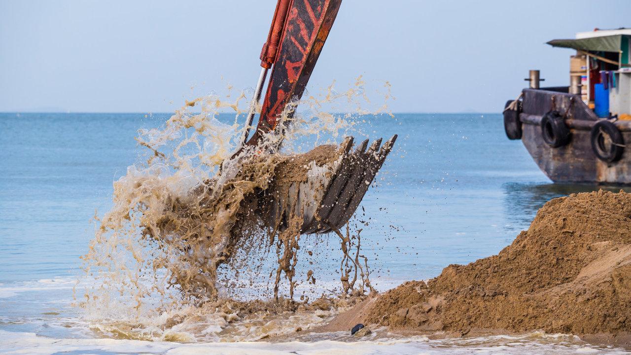 písek, těžba