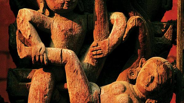 Scénka z Kámasútry v chrámu nepálského města Bhaktapur