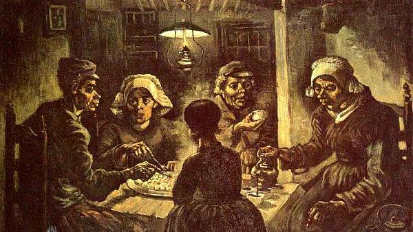 Během pár desítek let se z botanické zvlášnosti stalo jídlo chudých. Obraz Jedlíci brambor namaloval van Gogh.