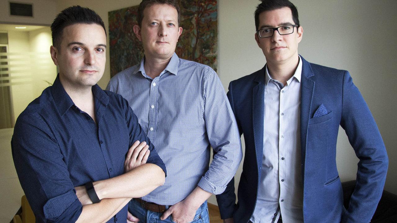 Úspěšní start-upisté. Zaplatformou Techloop stojí (zleva) Andrew Elliot, Paul Cooper aJoao Duarte.