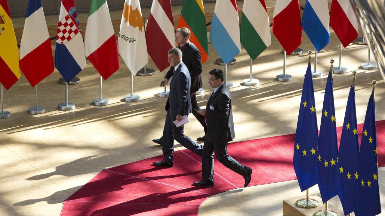 Premiér Andrej Babiš na summitu EU v Bruselu.