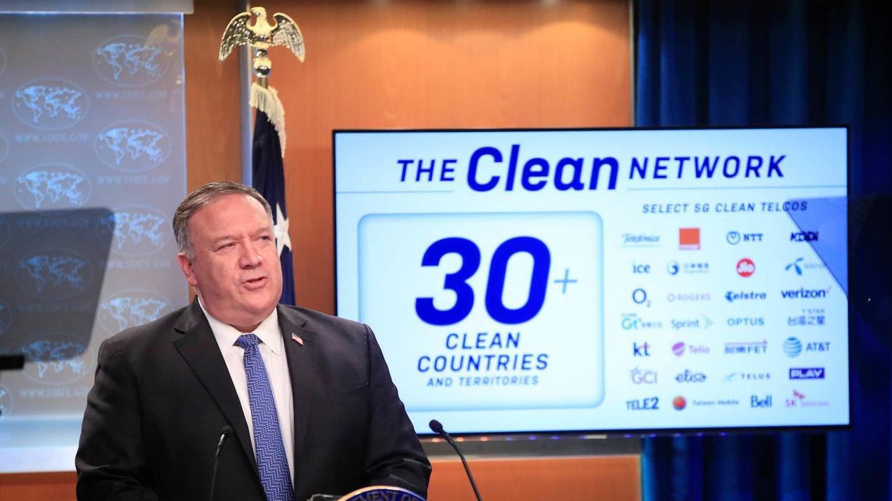 Americký ministr zahraničí Mike Pompeo představil body projektu snázvem Čistá síť.