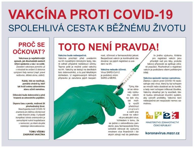 Reklama na vakcínu proti nemoci covid-19.