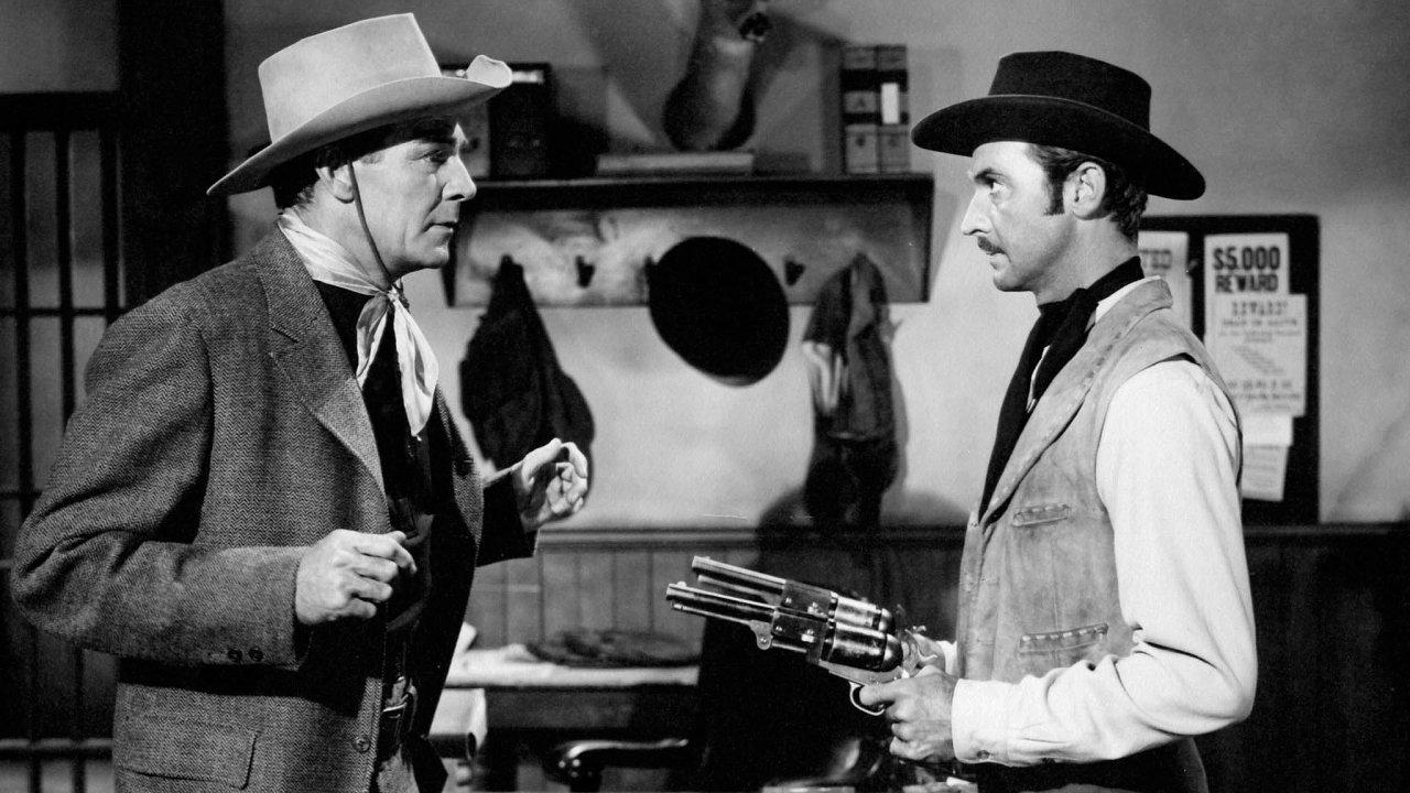 """""""Zbraň, která přinesla do země zákon"""" je podtitul westernu Colt 45 zroku 1950."""
