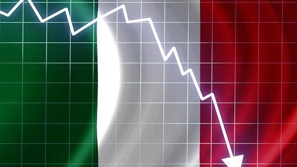 Italské trhy zažívají strmý pád.