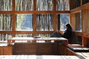 Moderní čínská knihovna souzní s přírodou. Je pokrytá větvičkami z okolních lesů