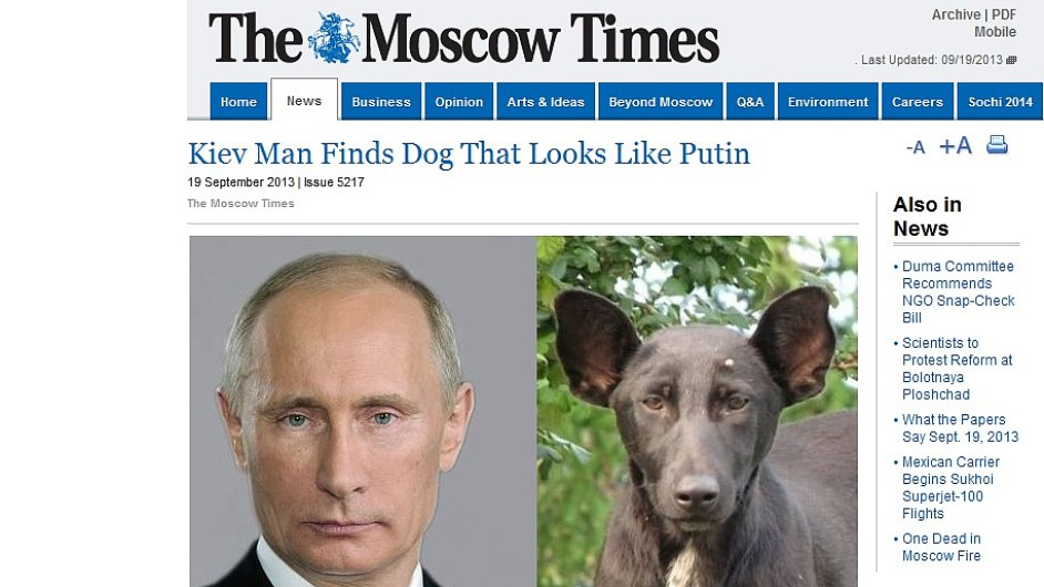 Pes s tváří Putina