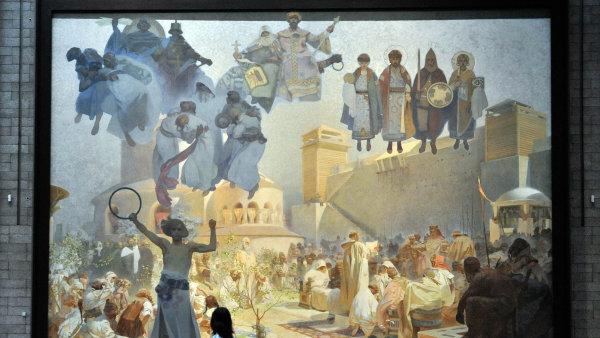 """Jeden zdvaceti obrazů cyklu Slovanská epopej nazvaný """"Zavedení slovanské liturgie: Chvalte Pána vrodném jazyce"""" zroku 1912."""