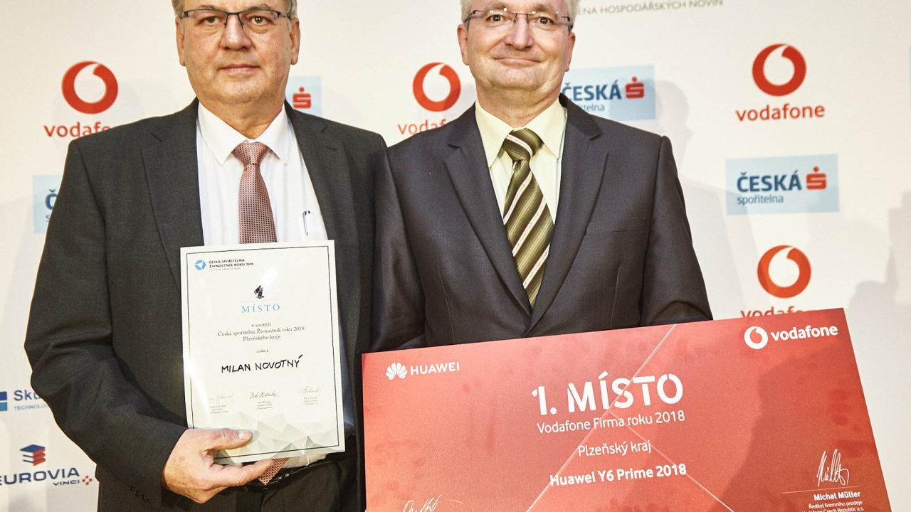 Vítězové krajského kola: živnostník Milan Novotný (vlevo) aJiří Šujanec zfirmy GTW Bearings