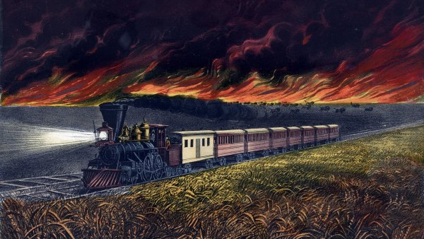 prarie fire chasing train
