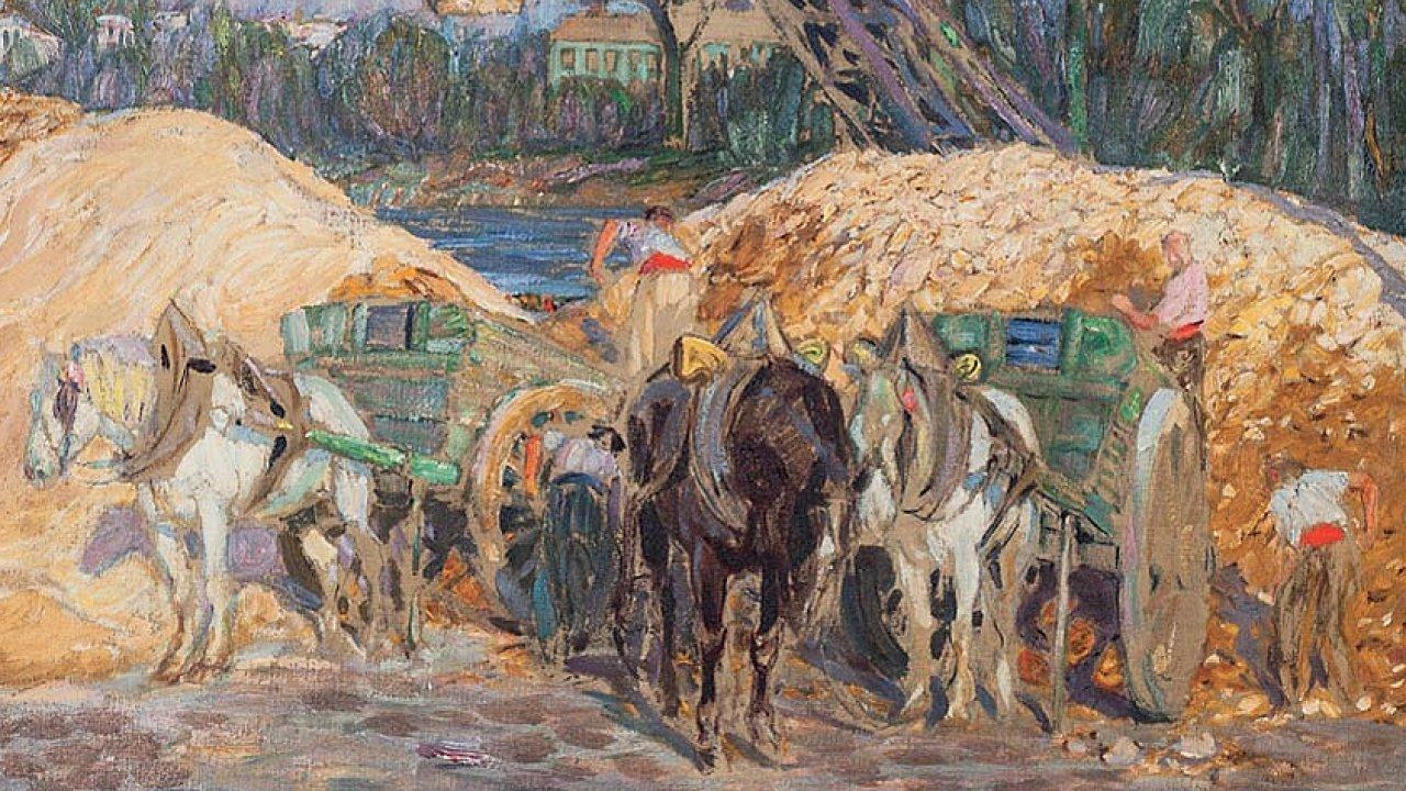 Obraz Františka Kupky Pískaři naSeině pochází zroku 1907 akdysi ho vlastnila rodina prezidenta Edvarda Beneše.