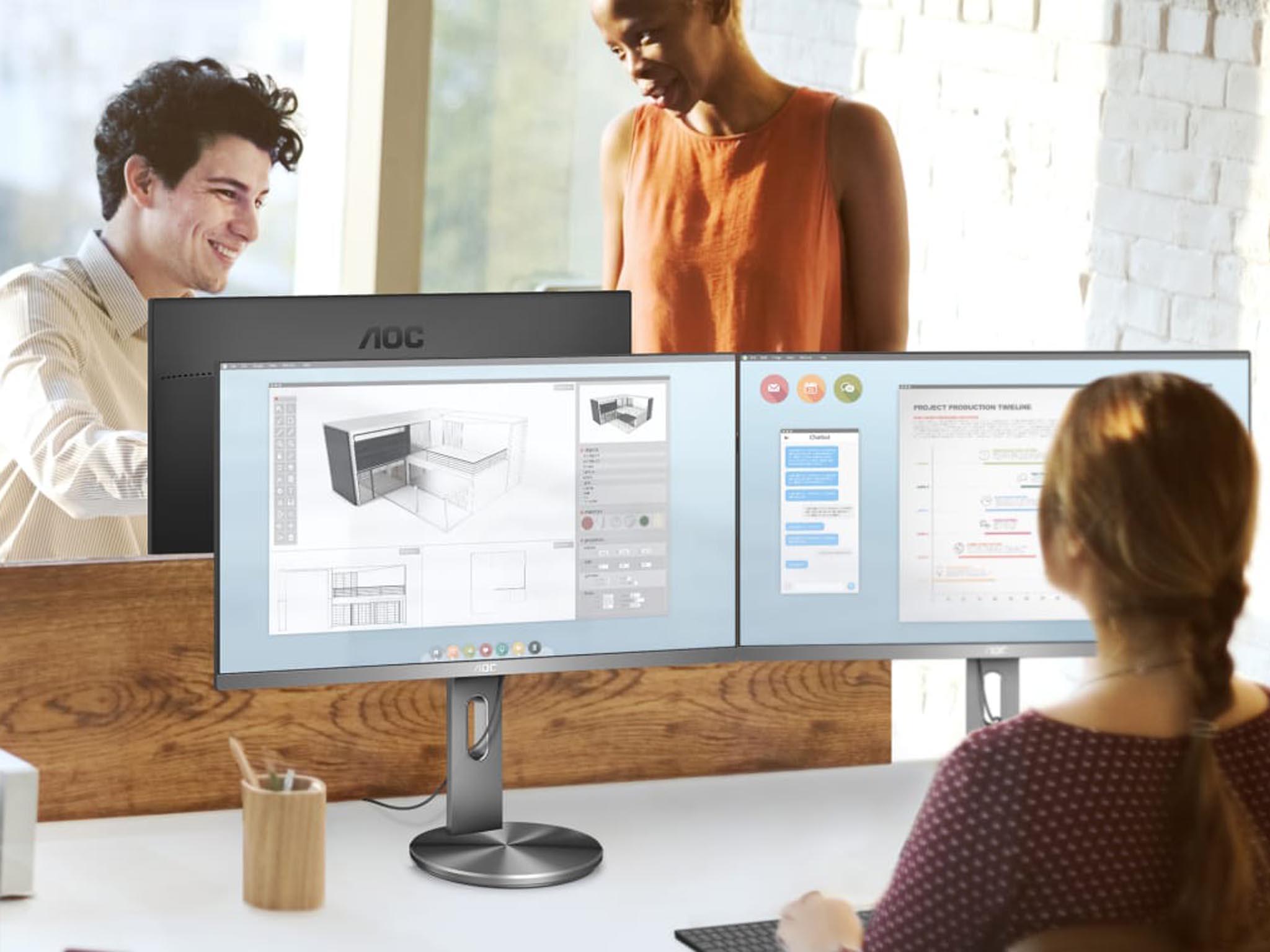 """Monitor AOC U2790PQU s 27"""" úhlopříčkou má 4K rozlišení a ergonomický stojan, který umožňuje otočení obrazovky navýšku."""