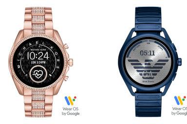 Chytré hodinky se systémem od Googlu se budou v Česku prodávat pod značkami Fossil, Michael Kors a Emporio Armani, nejlevnější verze (není na tomto snímku) přijde na 7599 korun.
