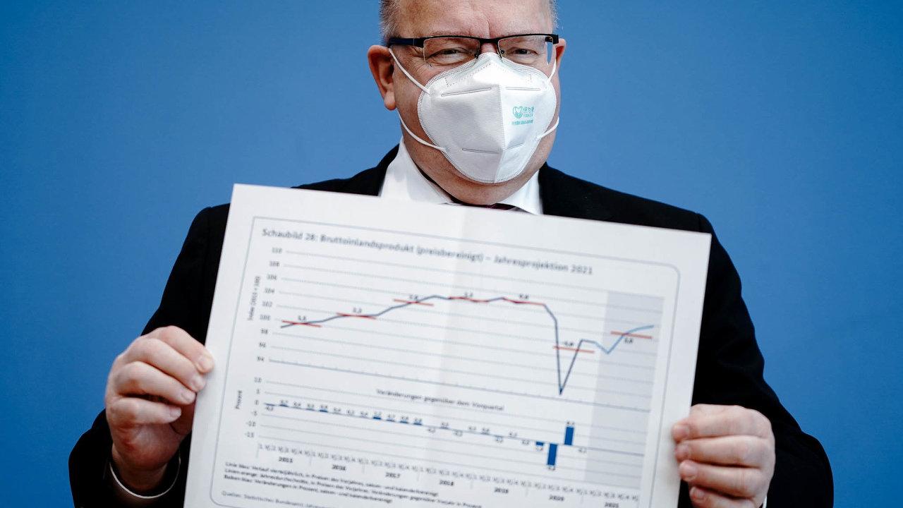 Německý ministr hospodářství Peter Altmaier při představování vládní zprávy o stavu německého hospodářství na letošní rok.