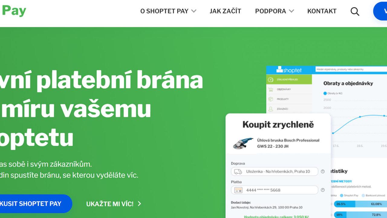 Platební brána Shoptet Pay je plně integrovaná do e-shopové platformy Shoptetu (ilustrační screen).
