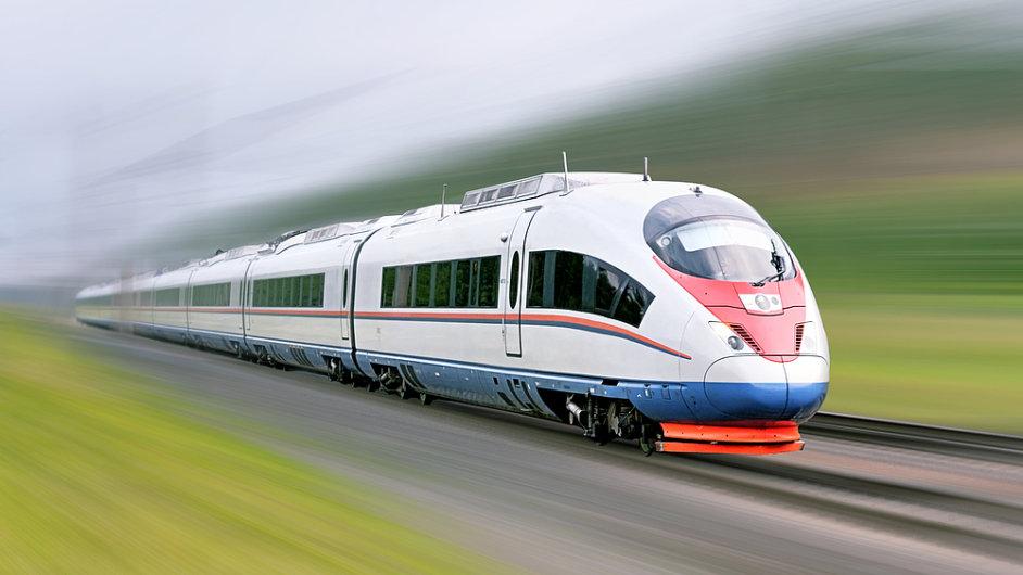 Vlak na vysokorychlostní trati, ilustrační foto
