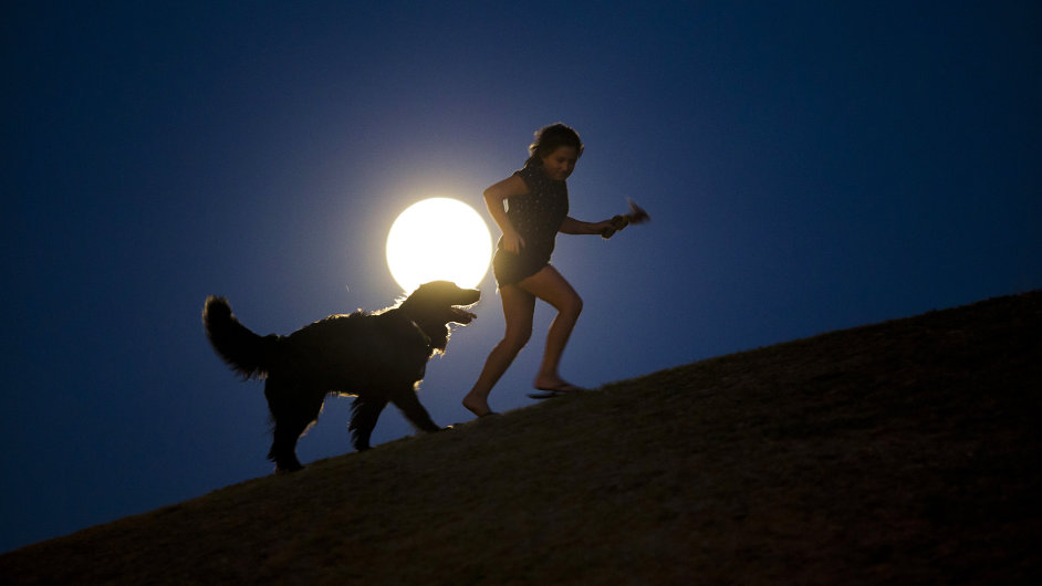 Dívku a psa ozářené úplňkem vyfotil fotograf agentury AP v Madridu