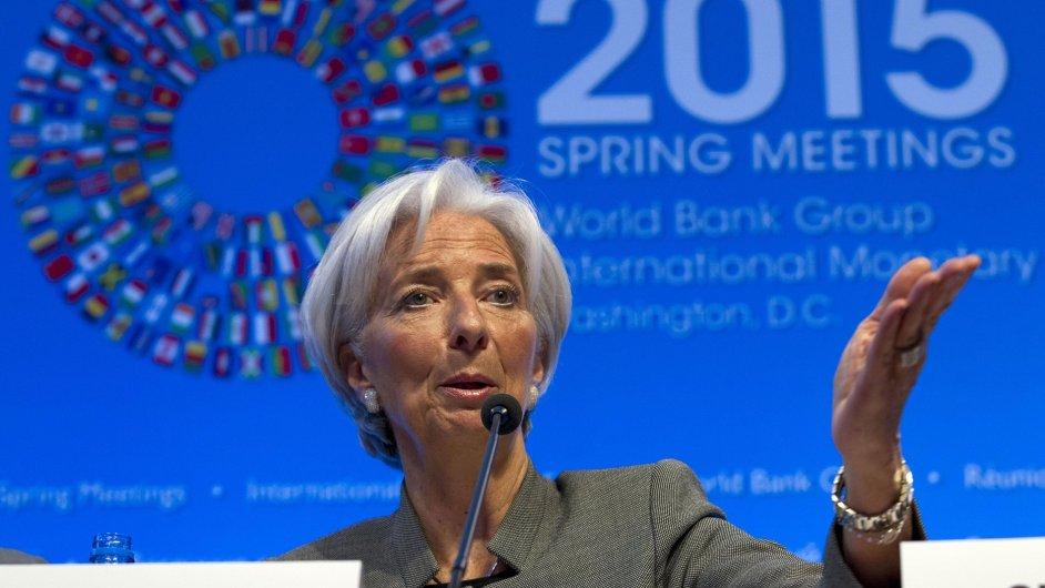 Výkonná ředitelka MMF Christine Lagardeová na tiskové konferenci v rámci jarního zasedání MMF a Světové banky ve Washingtonu.