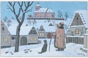 Tančící dům vystavuje díla Josefa Lady. Obrazy, ilustrace a kresby vybíral také výtvarníkův vnuk
