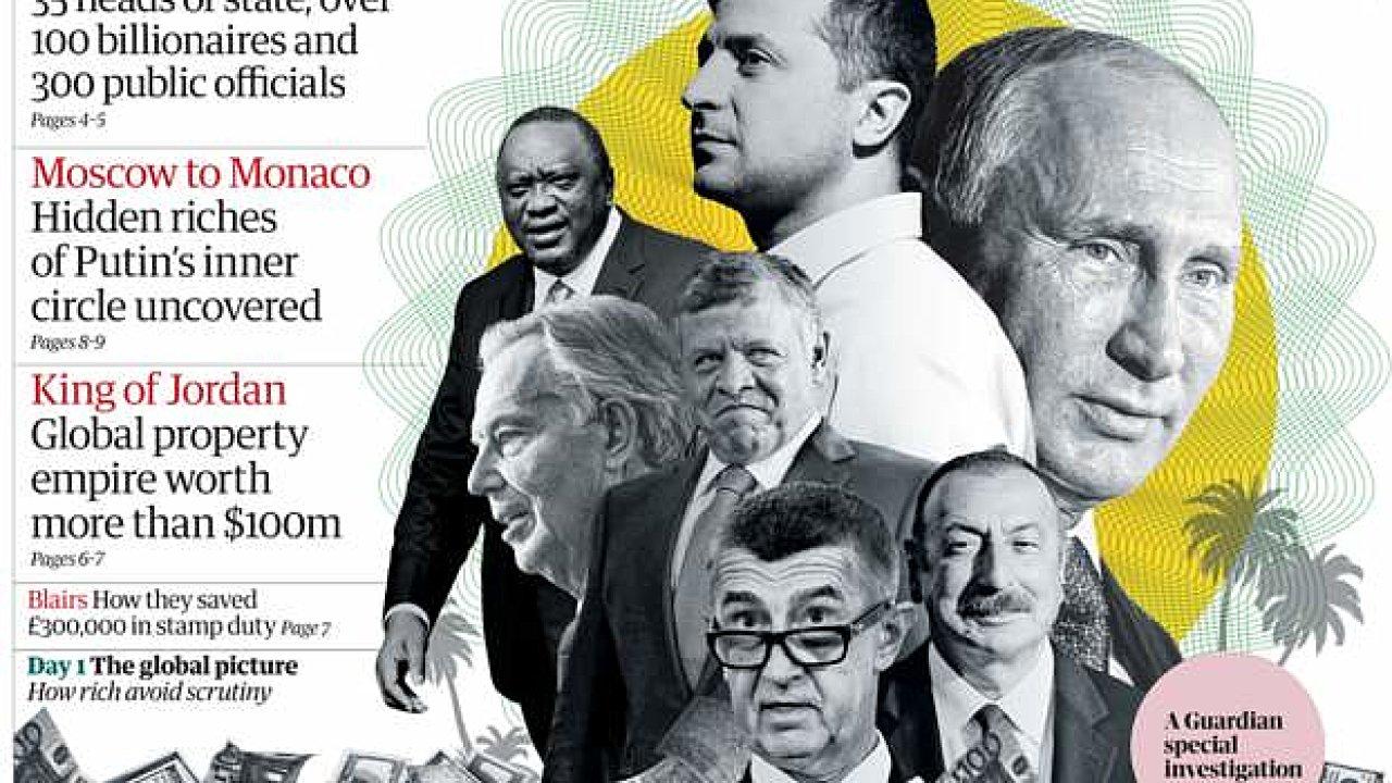 Premiér Andrej Babiš na koláži The Guardian. Pandora Papers
