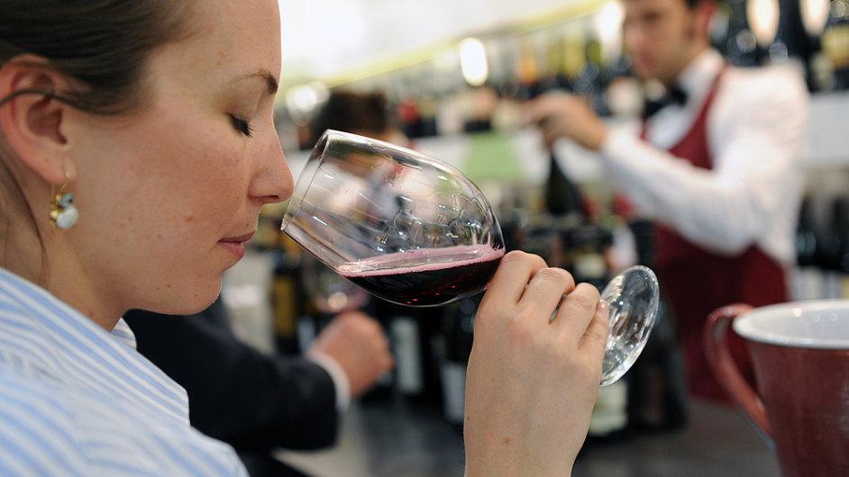 Červené víno, sklenice, alkohol, ilustrační foto