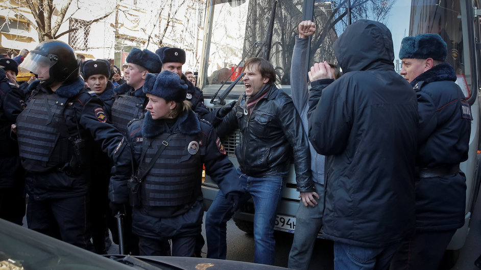 Moskva, protest, demonstrace, policie