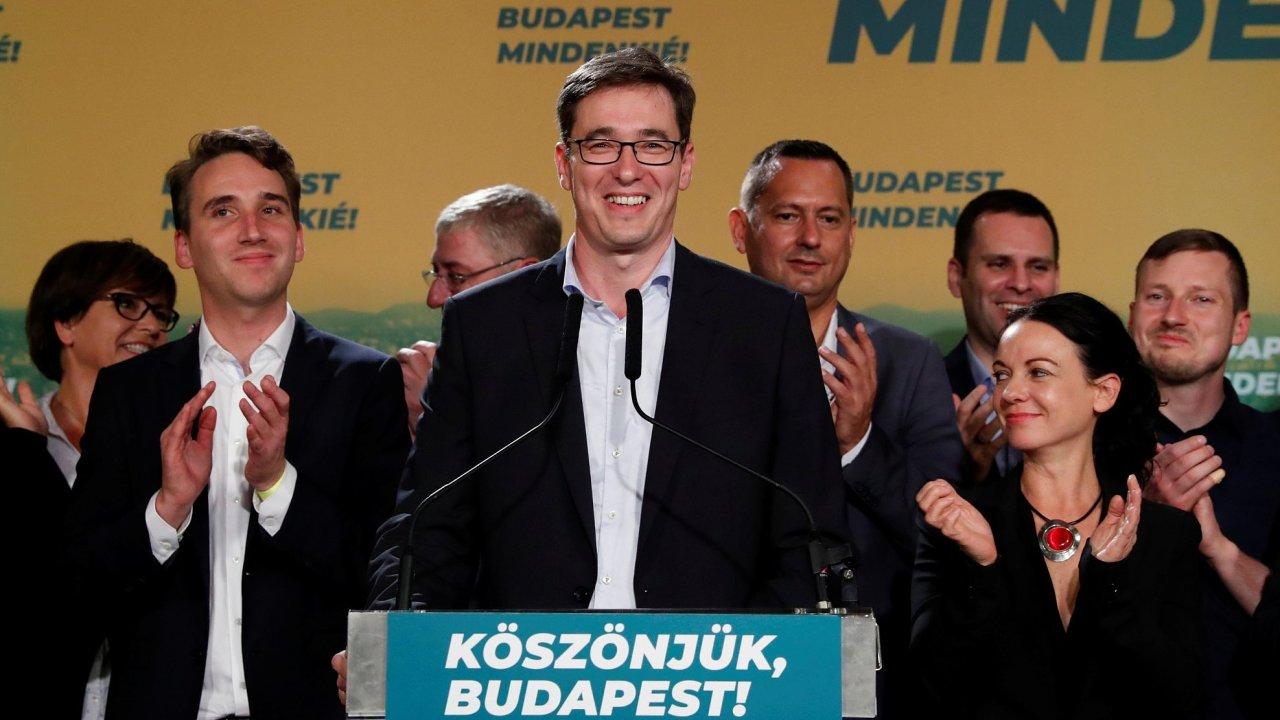 Nový budapešťský primátor Gergely Karácsony, který ve volbách kandidoval jako zástupce sjednocené opozice.