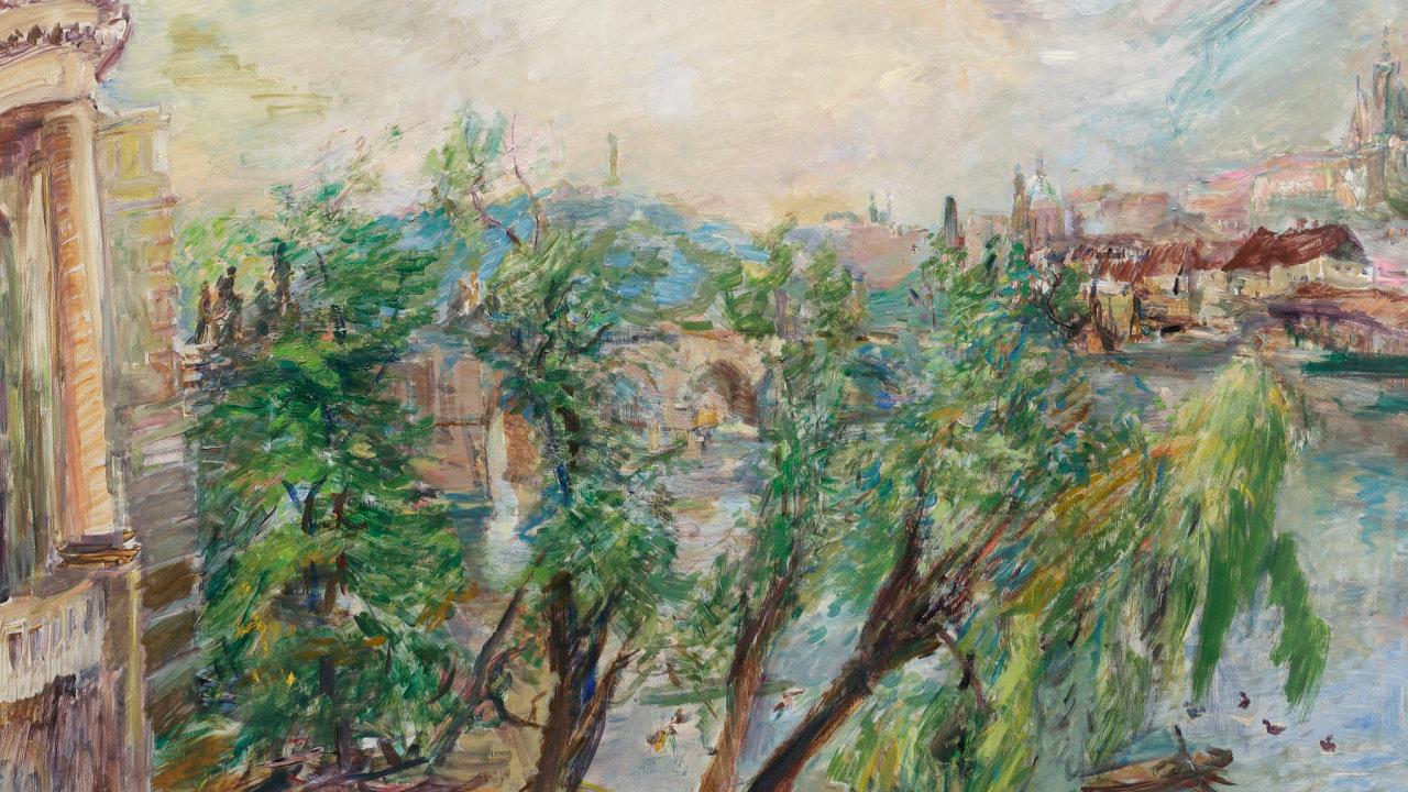 Novým nejdražším obrazem prodaným v Česku se vloni stalo plátno Oskara Kokoschky Praha– Pohled zkřižovnického kláštera.