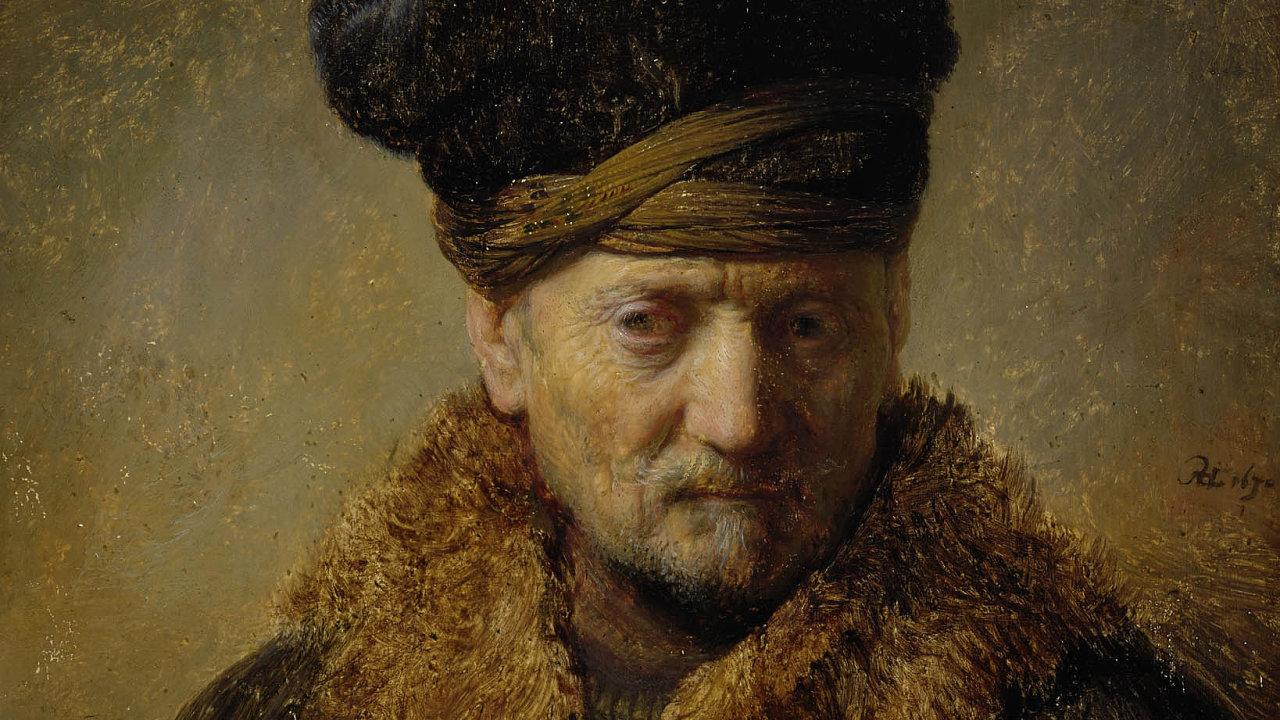 Rembrandt van Rijn, Poprsí muže vkožešinové čepici, Tiroler Landesmuseum Ferdinandeum, Innsbruck