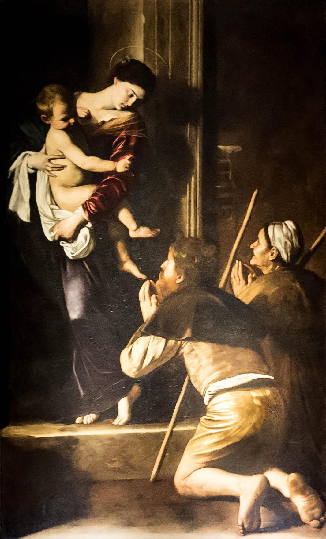 Caravaggiova Madonna zLoreta (1604–1606) vřímské bazilice Sant'Agostino je úchvatných dílem při každém zastavení.