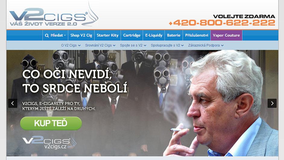Prodejce elektronických cigaret použil v reklamní kampani osobu prezidenta Miloše Zemana s poukazem na jeho silnou zálibu v kouření.