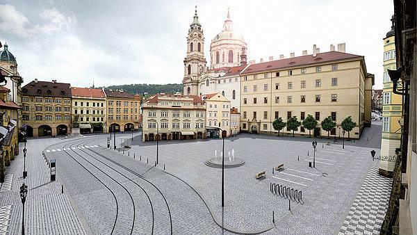 Koncepce Malostranského náměstí bez aut.