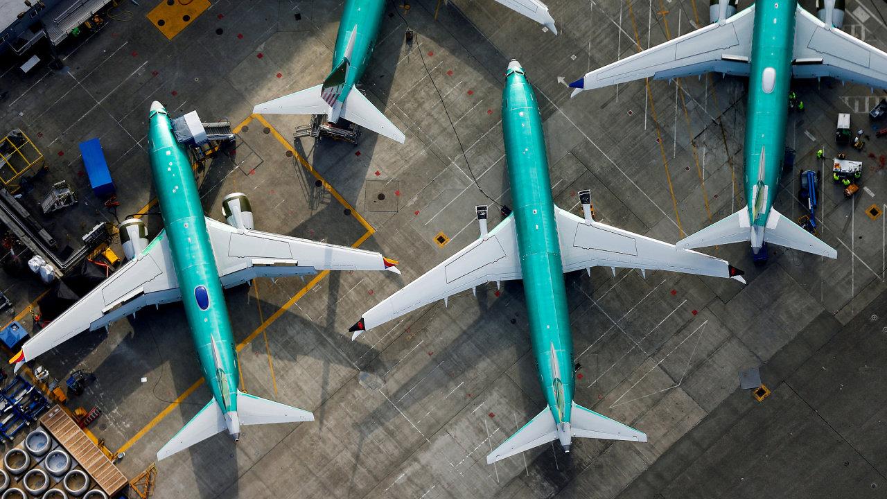 Letadla 737 Max v továrně společnosti Boeing ve městě Renton ve státě Washington.