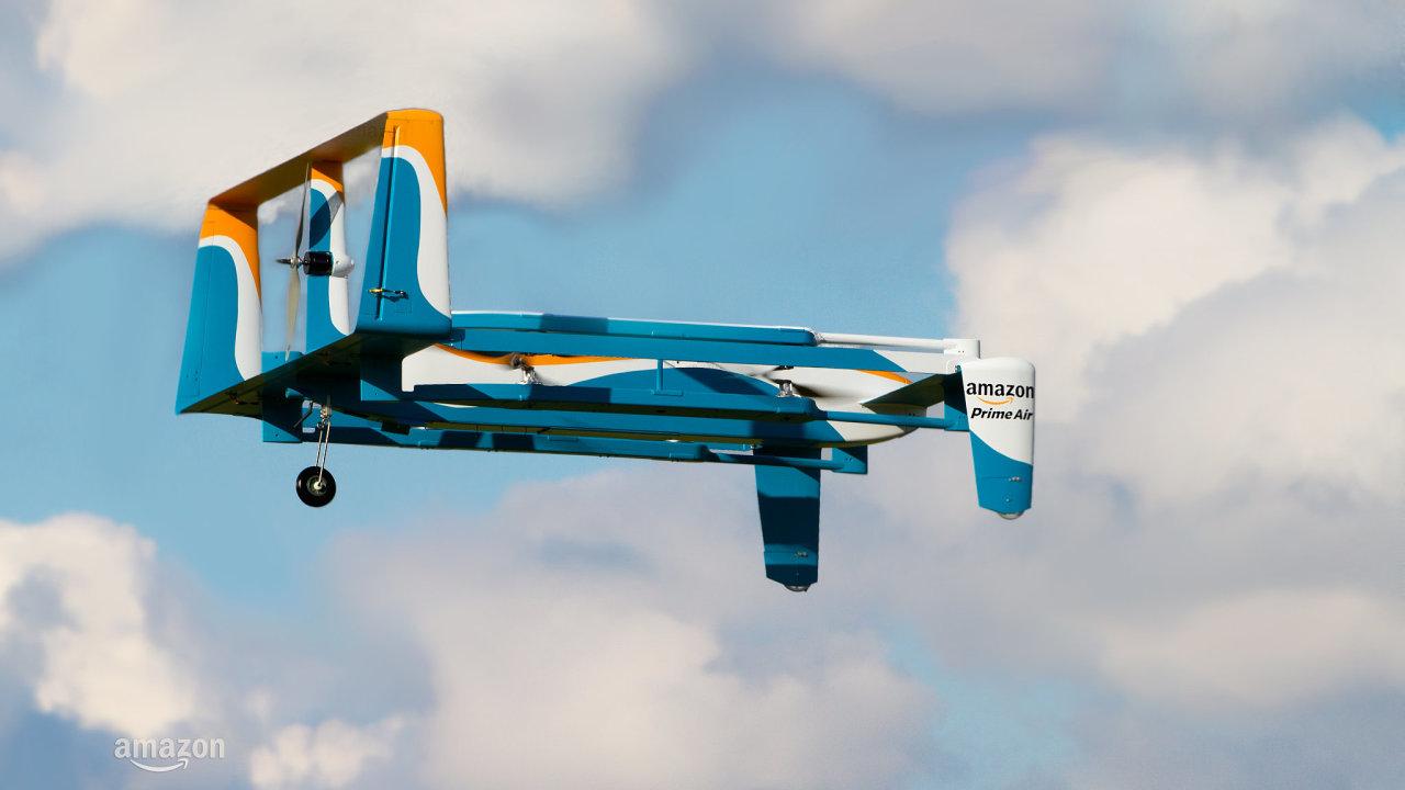 Jeden z nových modelů zásilkových dronů, které Amazon hodlá využívat pro doručování menších zásilek službou Prime Air.
