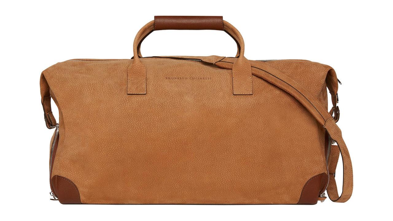 """Elegantní taška weekender je vyrobena z""""nubuck"""", hovězí kůže té nejvyšší kvality, která byla obroušena. Info oceně vbutiku, prodává BRUNELLO CUCINELLI."""