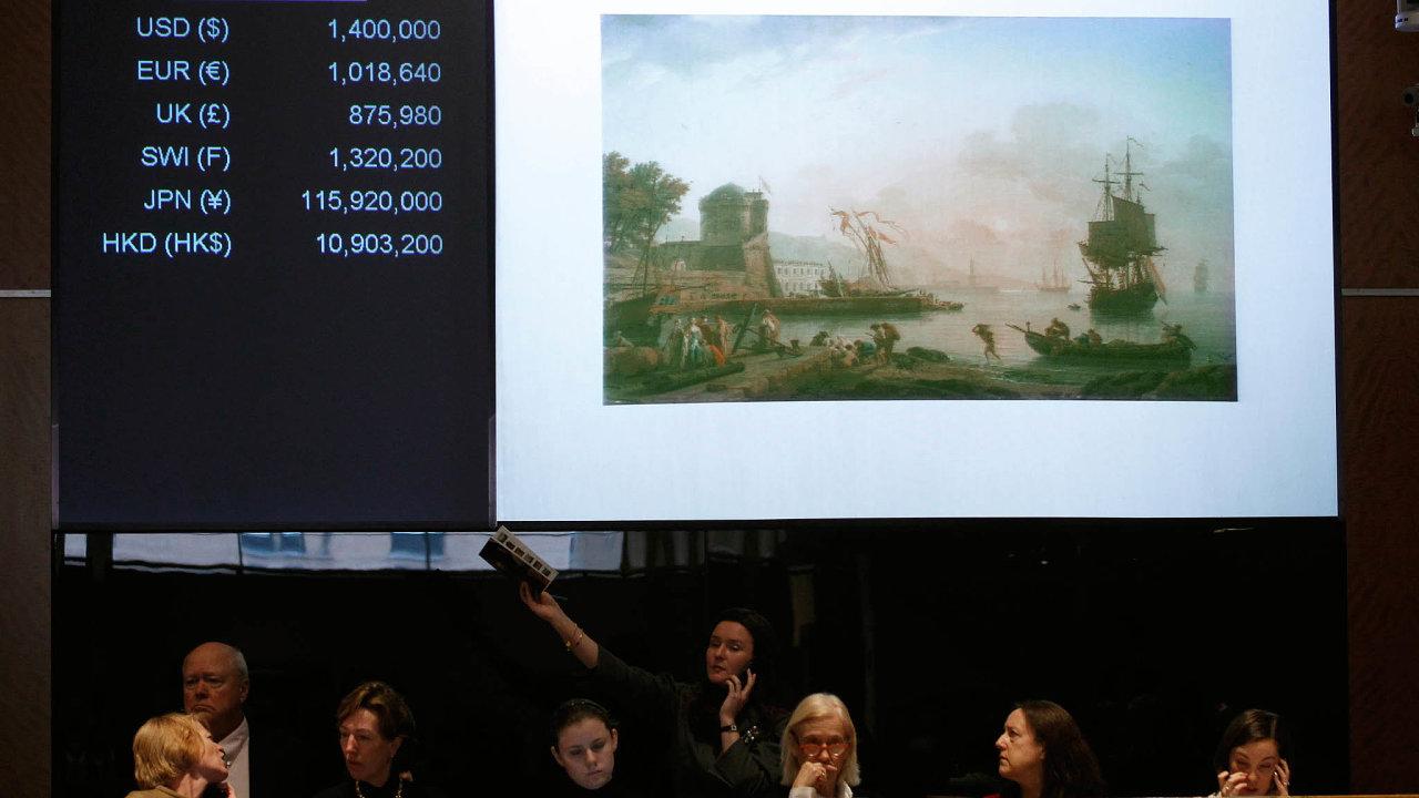 Data zeSotheby's, Christie'saHeritage Auctions ukazují, že jejich růst on-line prodeje dosahuje 11 až 17 procent.