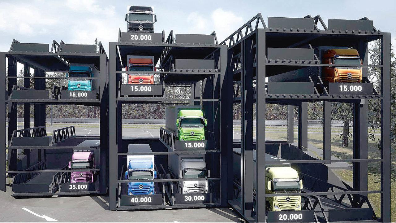Vizualizace parkovacího systému TruckTower.
