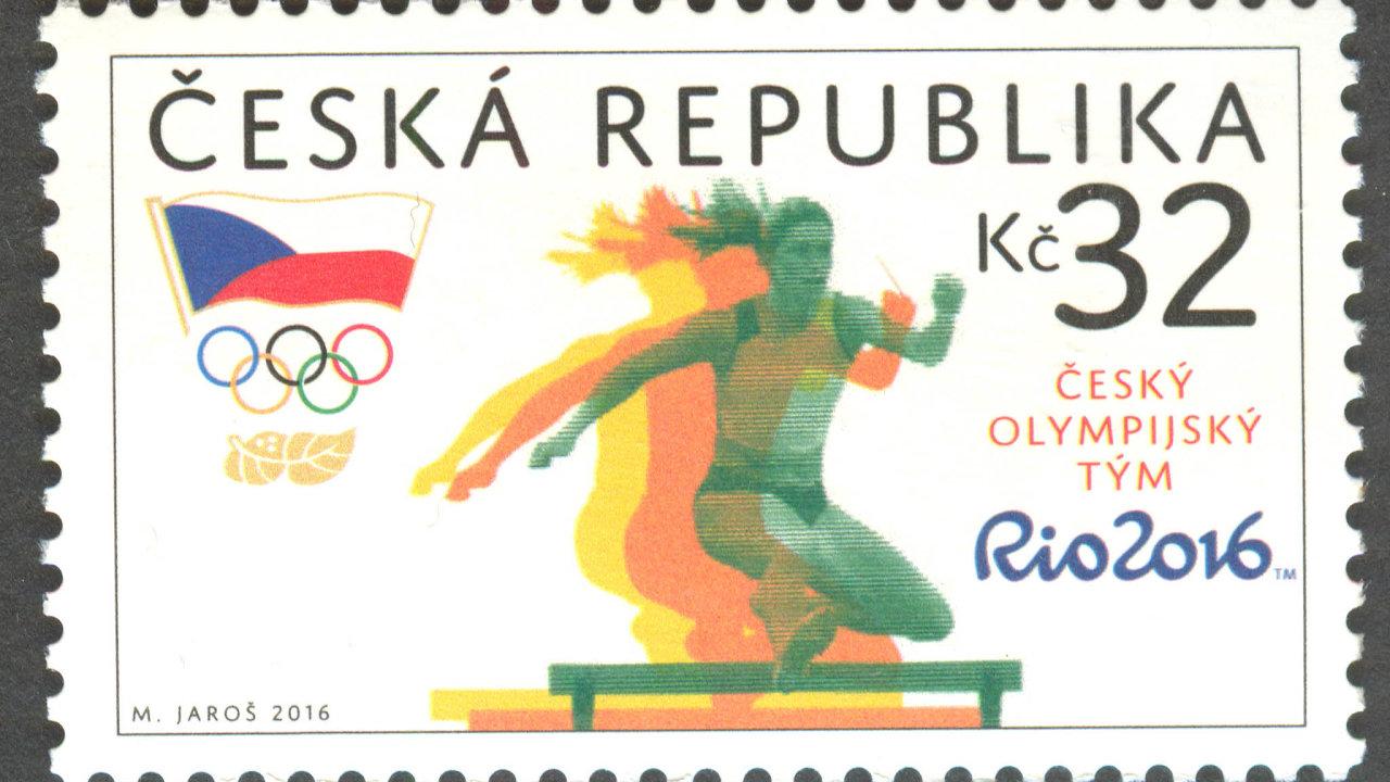 Jedna zedvou známek, kterou vroce 2016 vydala Česká pošta upříležitosti olympijských her vRiu de Janeiru ajako předlohu použila fotografii dvojnásobné mistryně světa Zuzany Hejnové.