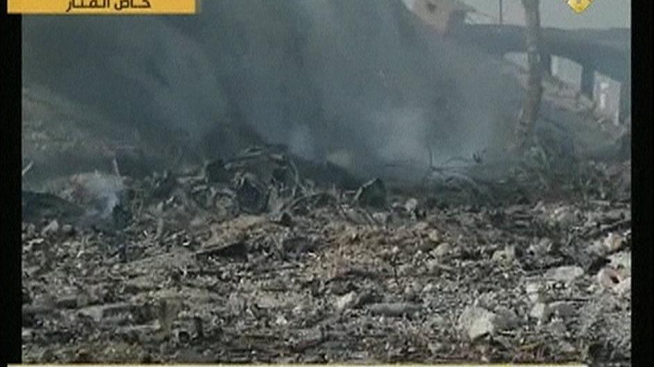Místo, kam v Damašku dopadly izraelské rakety. Záběry odvysílala televize Al Manar.