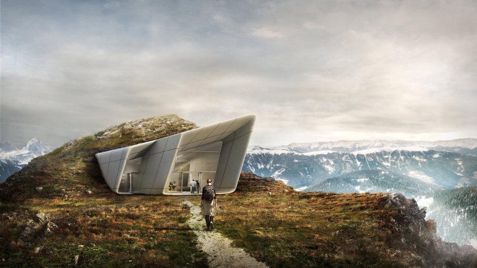 Budovu Messnerova muzea na vrcholu jihotyrolského Kronplatzu projektovala architektka Zaha Hadidová.