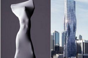 Vlevo záběr z klipu zpěvačky Beyoncé, vpravo návrh mrakodrapu.